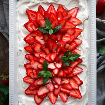 Vegan Vanilla Sheet Cake with Strawberries