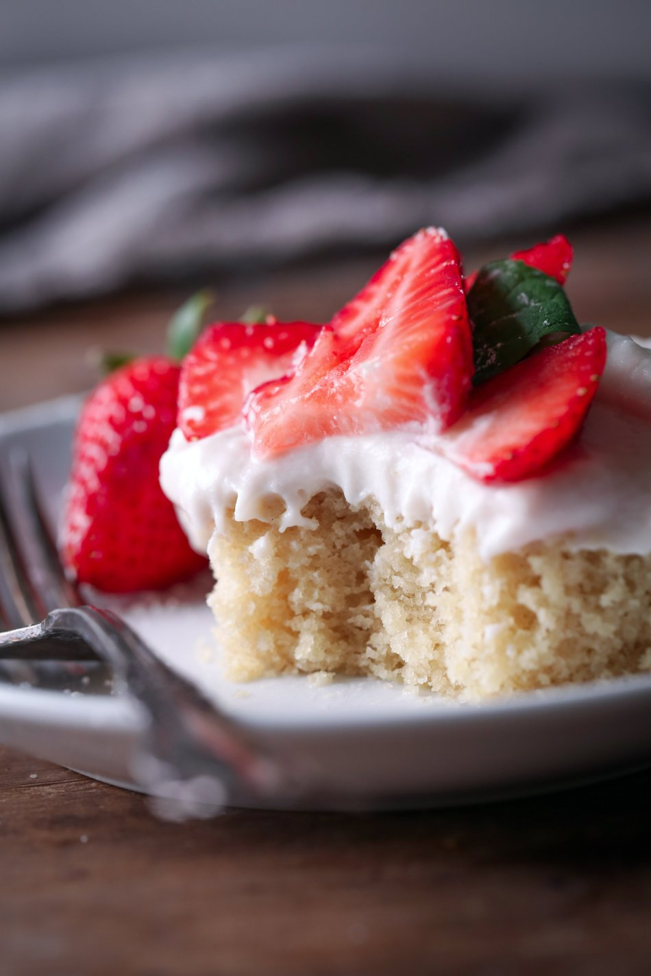 Vegan Vanilla Sheet Cake with Strawberries | Gluten and dairy free variation included. Vegan friendly.