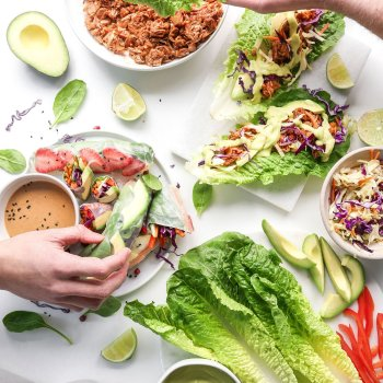 Vegan BBQ Lettuce Wraps with Avocado Aioli