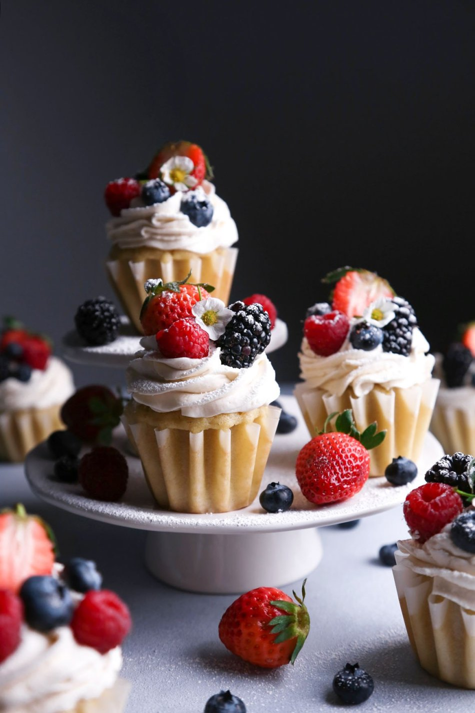 Vegan Vanilla Cupcakes with Fresh Berries | Gluten-Free Version Included | Wife Mama Foodie