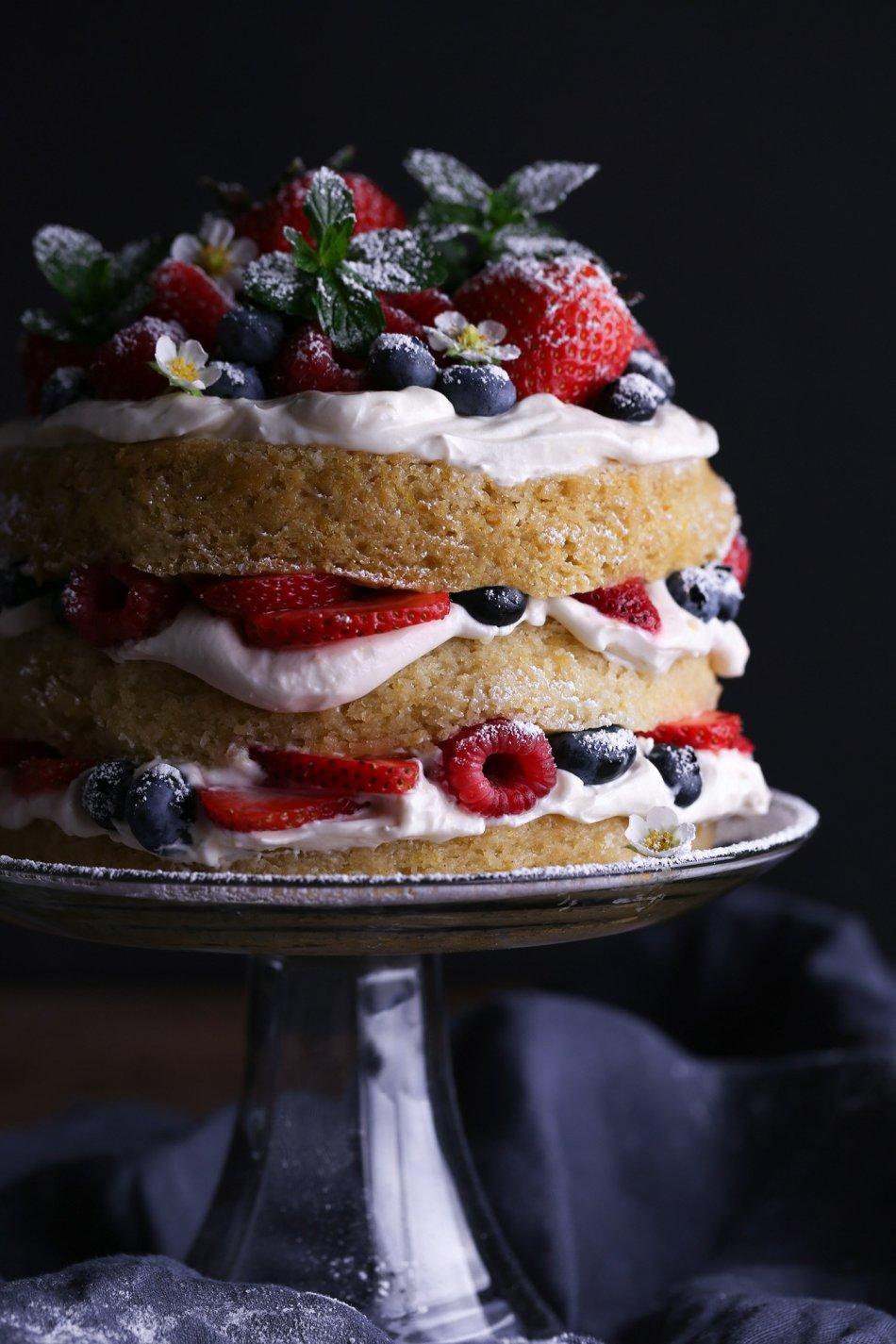 Vegan Lemon Cake with Fresh Berries | Wife Mama Foodie