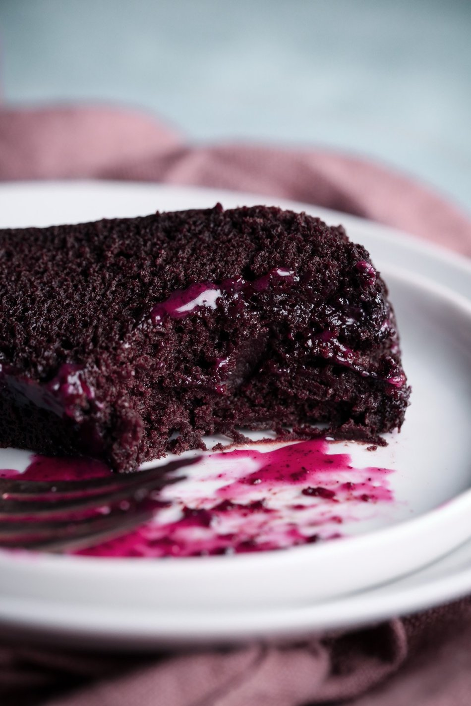 Chocolate Bundt Cake with Hibiscus Cream Cheese Glaze | Free of gluten, dairy, eggs, and refined sugar, plus vegan friendly