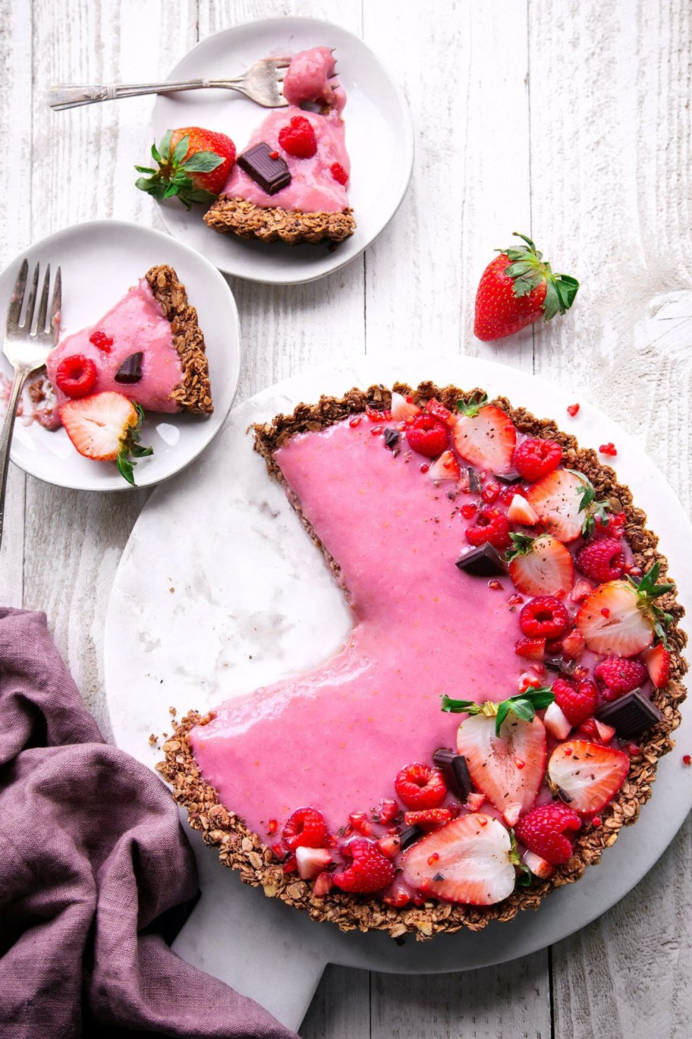 Chocolate Granola Breakfast Tart with Yogurt and Berries | Free of gluten, dairy, and refined sugar, plus vegan friendly!