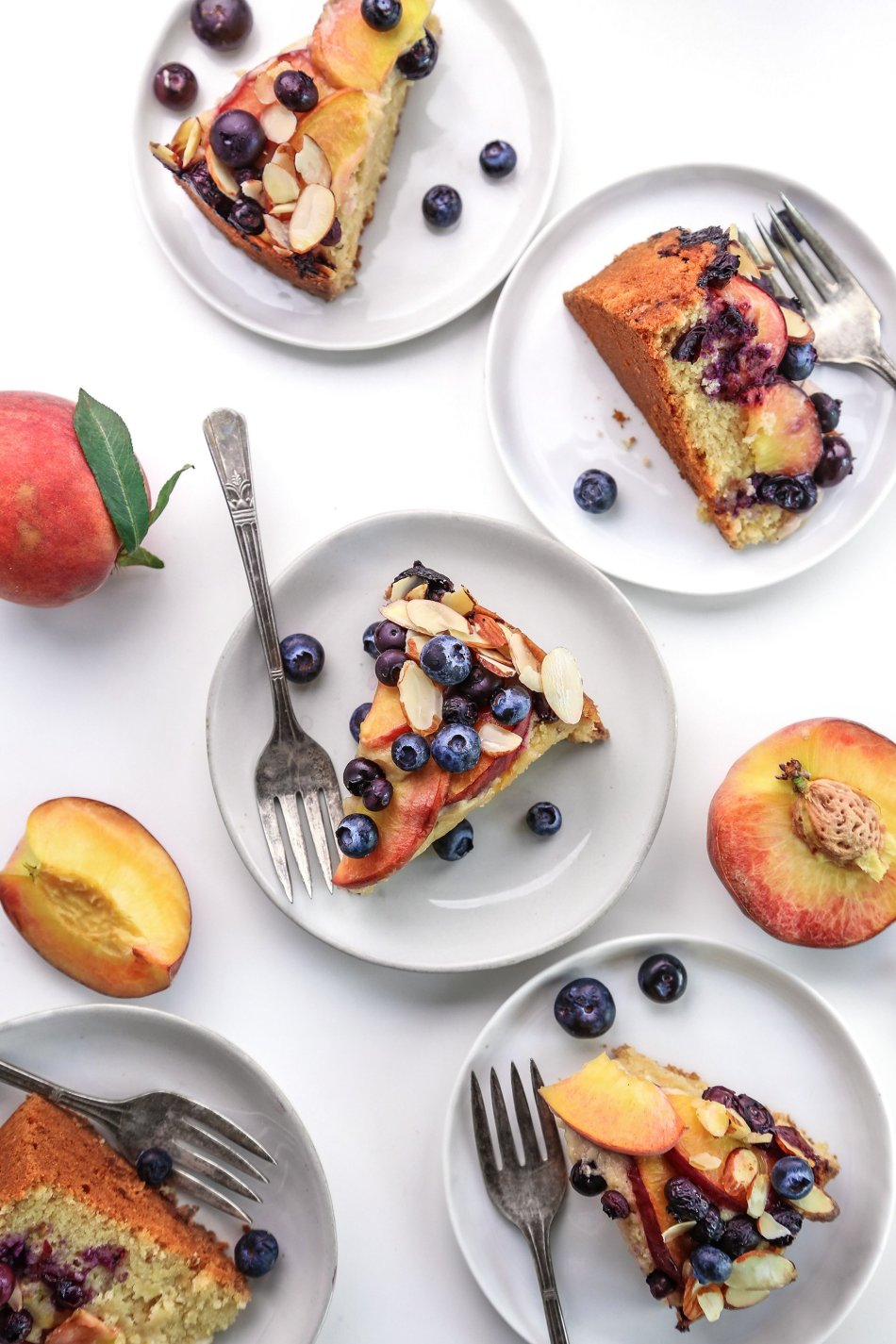 Blueberry Peach Coffee Cake | Vegan friendly and refined sugar free with gluten free option