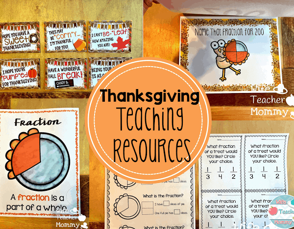 Thanksgiving Fractions, Area and Circumference, and Punny Cards!