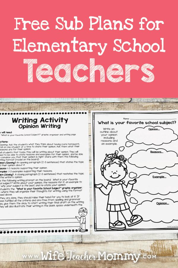 free sub plans for elementary teachers