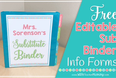 Free Editable Substitute Binder Forms