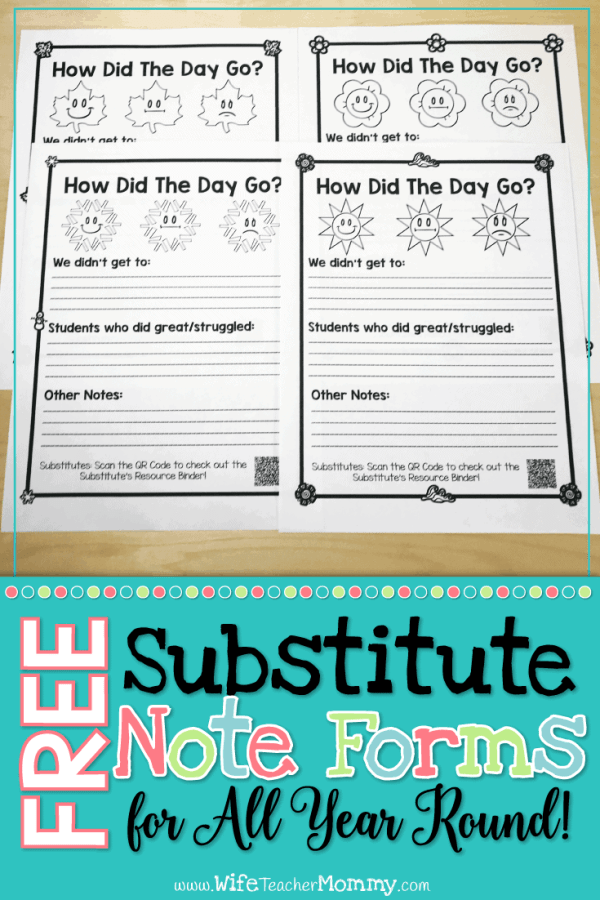 Free Substitute Note Forms for All Year Round