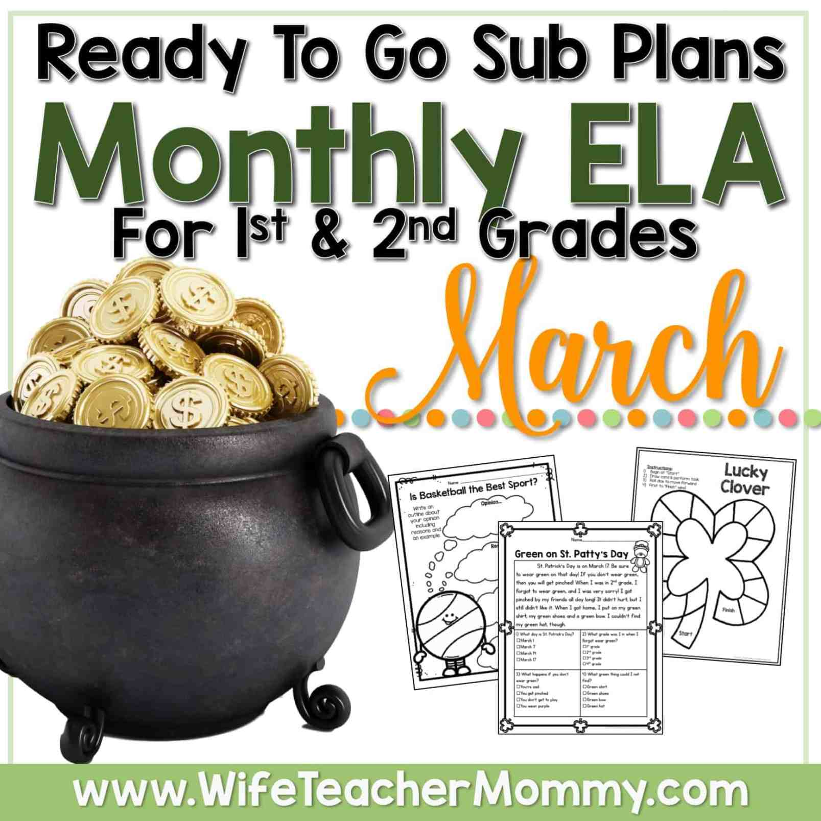 March Sub Plans for 1st Grade & 2nd Grade (ELA) - Wife