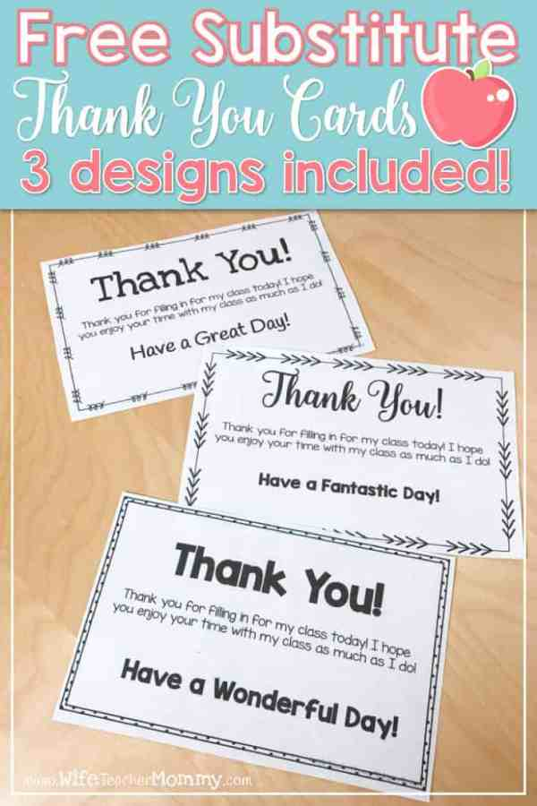 Free Substitute Teacher Thank You Cards