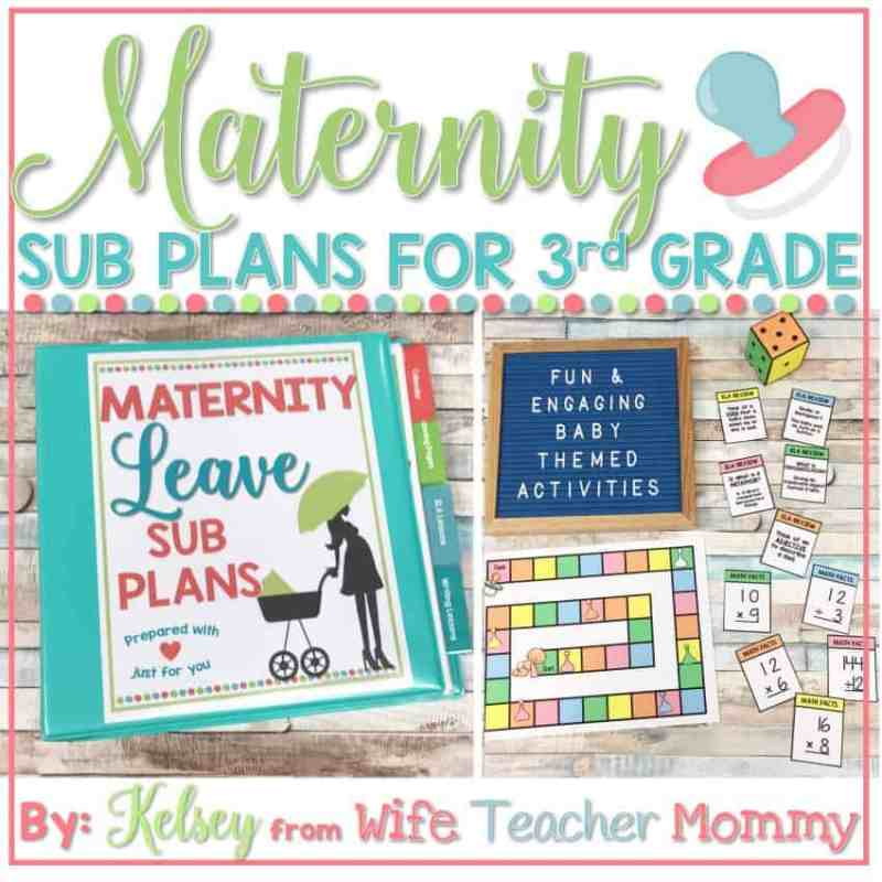 maternity leave sub plans 3rd grade