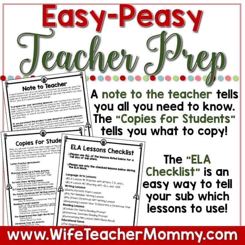 December Sub Plans For Kindergarten Wife Teacher Mommy