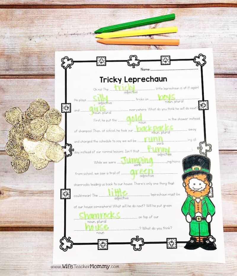 St. Patrick's Day sub plan activities for upper elementary! This is a great St. Patrick's Day teaching idea. Students will practice their parts of speech. 3rd, 4th, 5th grade.