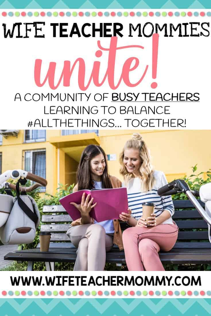 Looking for a community of teacher moms who just get it? This Facebook group is a wonderful teacher community where we share tips for work/life balance, teaching ideas, teaching resources, free printables for teachers, and more. You can get your teaching questions answered and find out how to avoid teacher burnout. We share teacher truths, teacher quotes, and more. If you are a teacher mom, be sure to join this group! #teachermom #teachermommy #teachersfollowteachers #teaching