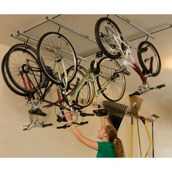 cycle glide ceiling mounted cycle rack