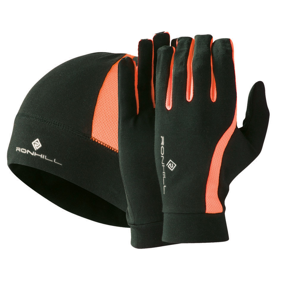 Image result for ron hill running gloves orange black