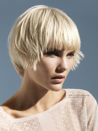 Young Fashion Platinum Blonde Short Hairstyle Classic Mono