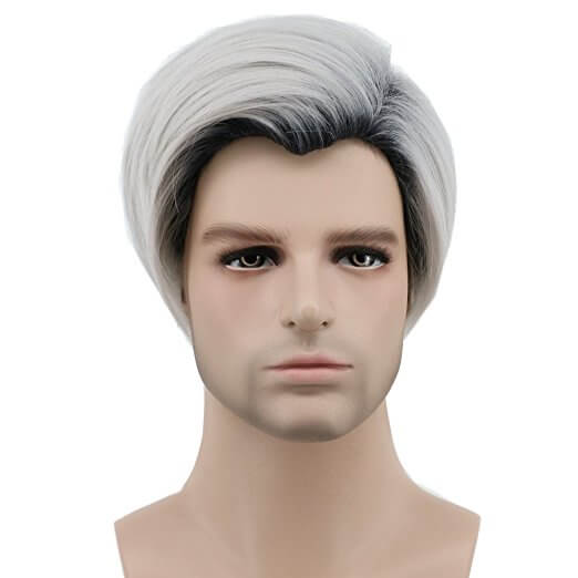 Short Dark and White Mens Wig