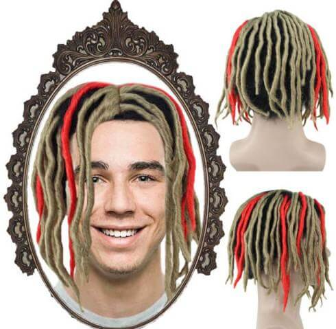 Blonde Red Dreadlock Wig