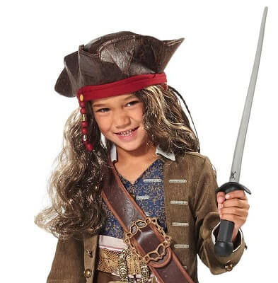 Jack Sparrow Pirate Hat and Wig for Kids