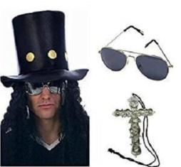 The Slash Heavy Metal Rocker Hat with Wig