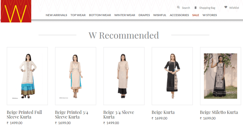Personalized Similar or Recommended Products Like WForWoman
