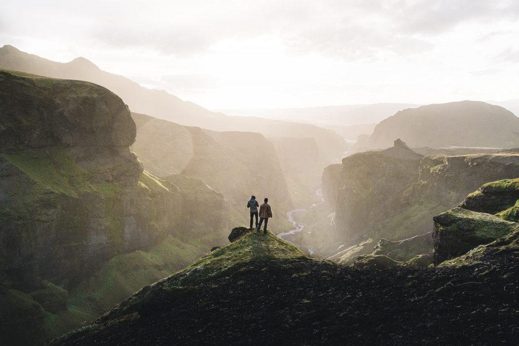 Þórsmörk day tour, Thorsmork in Iceland, two people standing with a view over Thorsmork