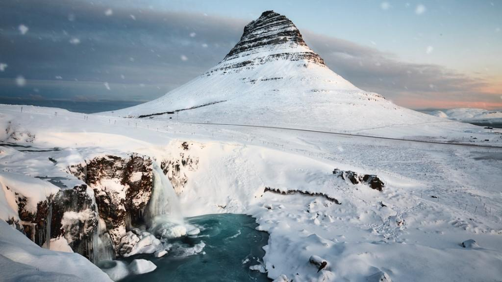 Kirkjufell mountain with snow in winter