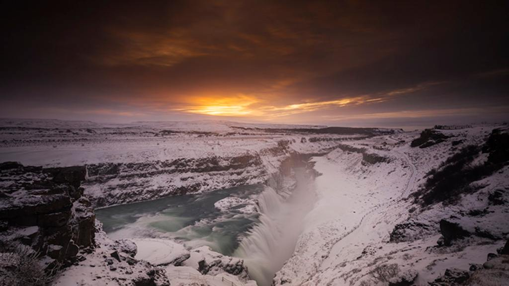 Gullfoss waterfall in winter and snow