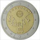 Portugal 2014 2 Euro Münze 40. Jahrestag der Nelkenrevolution Unabhängigkeit