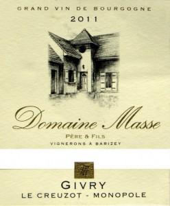 """Givry Village - Domaine Raymond Masse """"le Creuzot"""" Monopole 2011"""