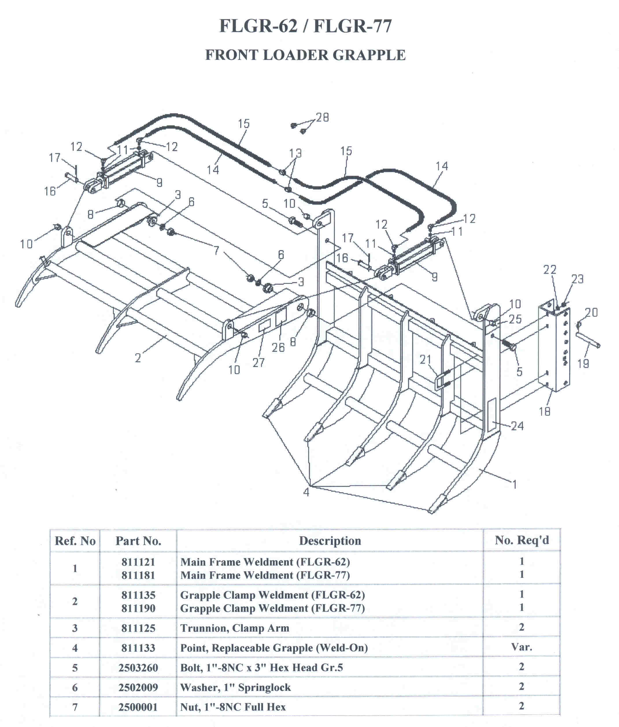 Exploded View Loader Mount Grapple Rakes