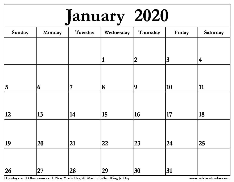 Free Printable January Calendar