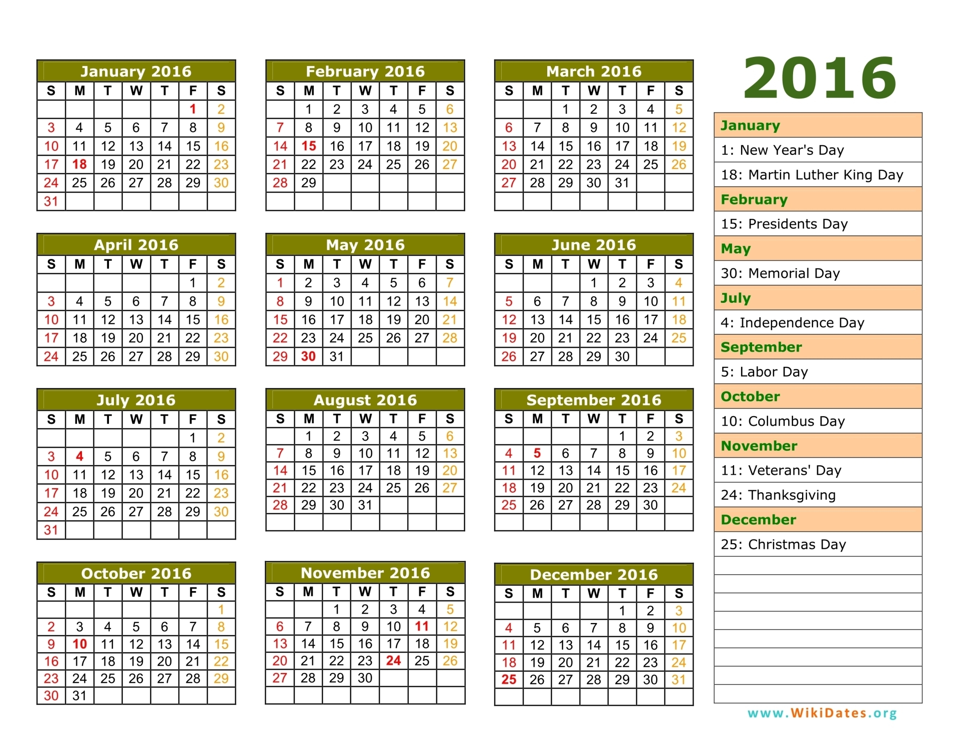 Image Result For Printable Yearly Calendar For