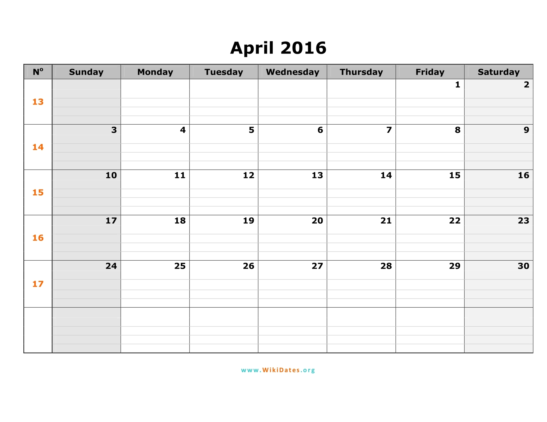 April 2016 Calendar   WikiDates.org