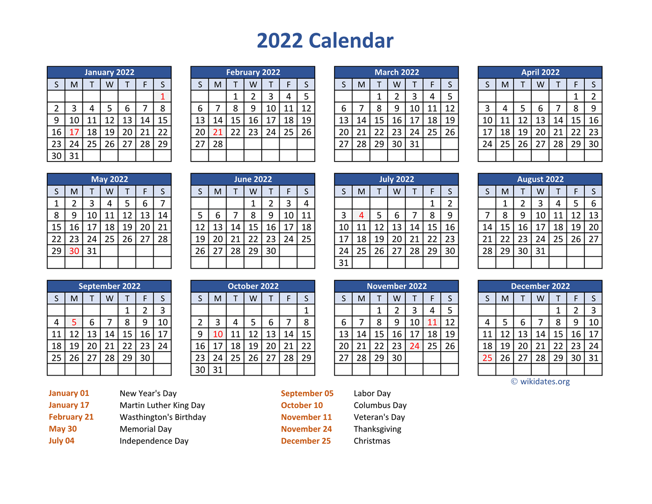 After the festive holiday season, the cold, bleak days of winter can see. PDF Calendar 2022 with Federal Holidays   WikiDates.org