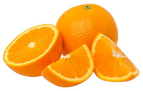 Orange fruit with cut sections