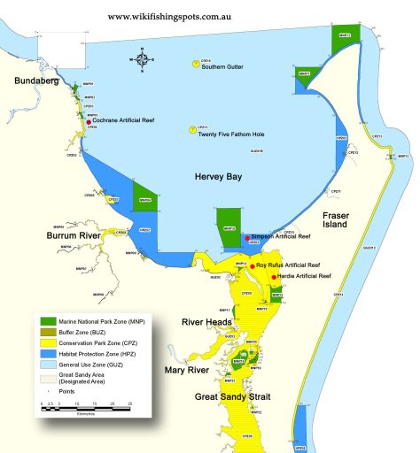 A Hervey Bay fishing map, showing artificial reef locations and marine park sanctuaries