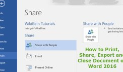How to Share, Print and Export Document on Microsoft Word 2016