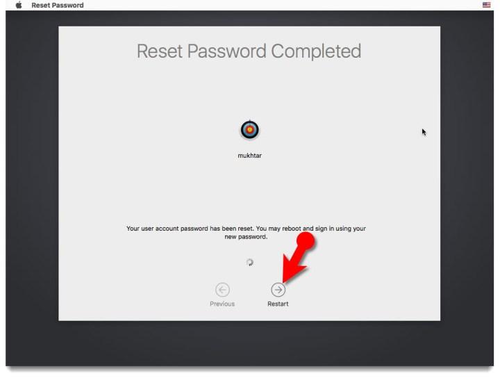 Reset admin password mac