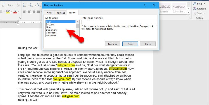 Text Editing Group in Microsoft Word 2016