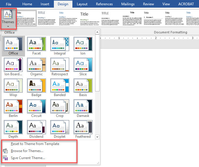 apply document themes in microsoft office word 2016 wikigain