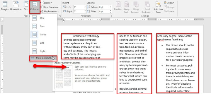 Set Page Setting-Page Size, Column, Hyphenation in Microsoft Word 2016