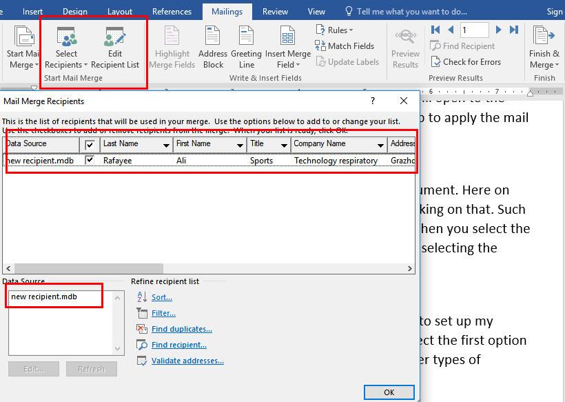 Create mail-merge-send envelope-Microsoft word 2016 - wikigain