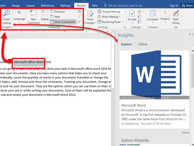 Review Your Document in Microsoft Office Word 2016