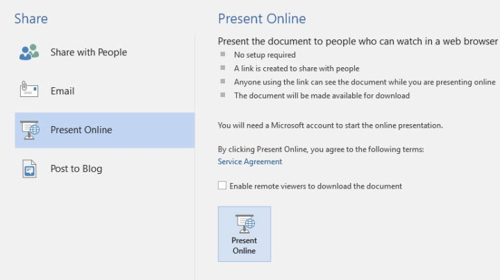 Share Office Documents Online in Microsoft office 2016