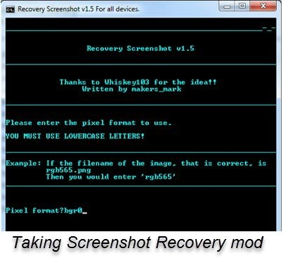 ScreenShot While Recovery