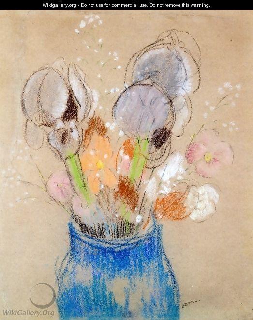 Bouquet of Flowers, Irises - Odilon Redon