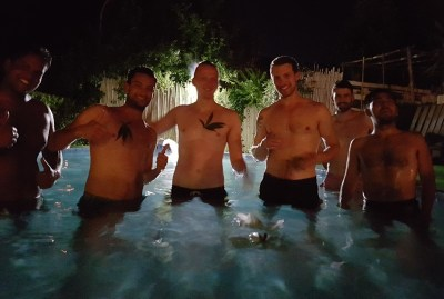 WIKI HOSTEL pool party by night fun friends