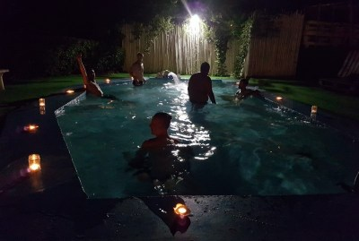 WIKI HOSTEL pool party by night